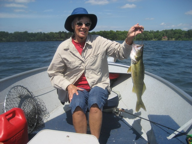 Bob Hoeft's wife Barb is proud of her catch.